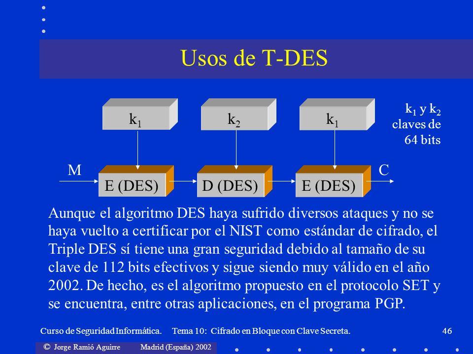 Usos de T-DES k1 k2 E (DES) M C D (DES)