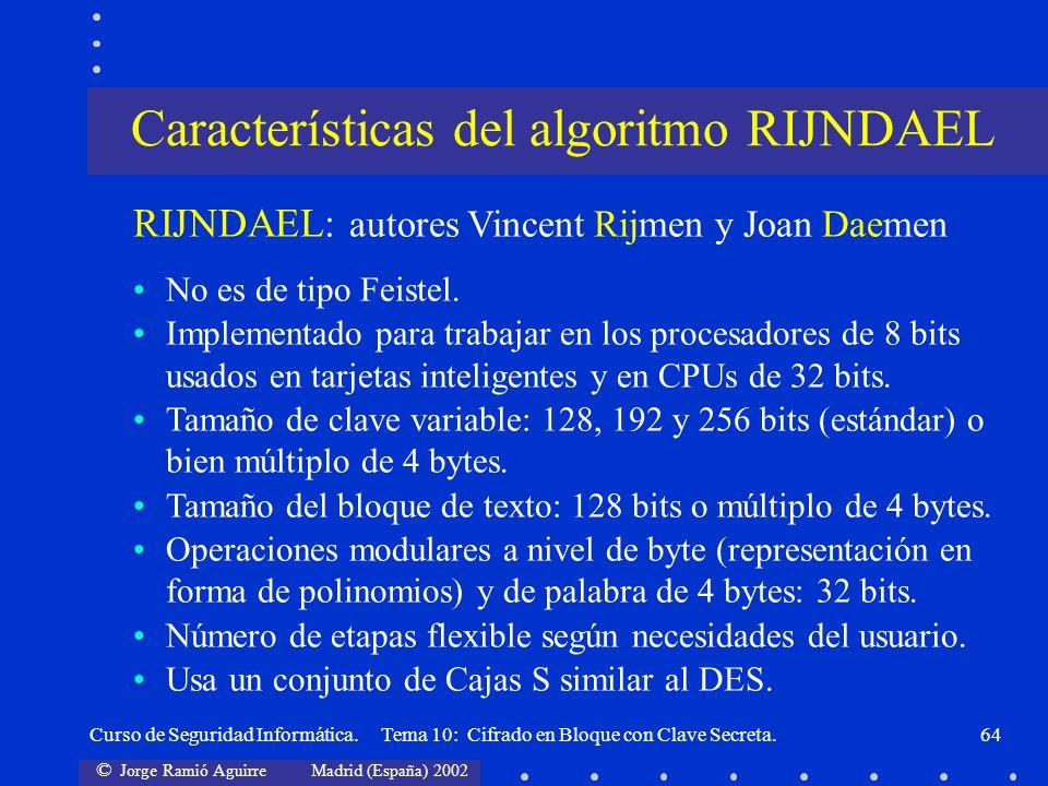 Características del algoritmo RIJNDAEL