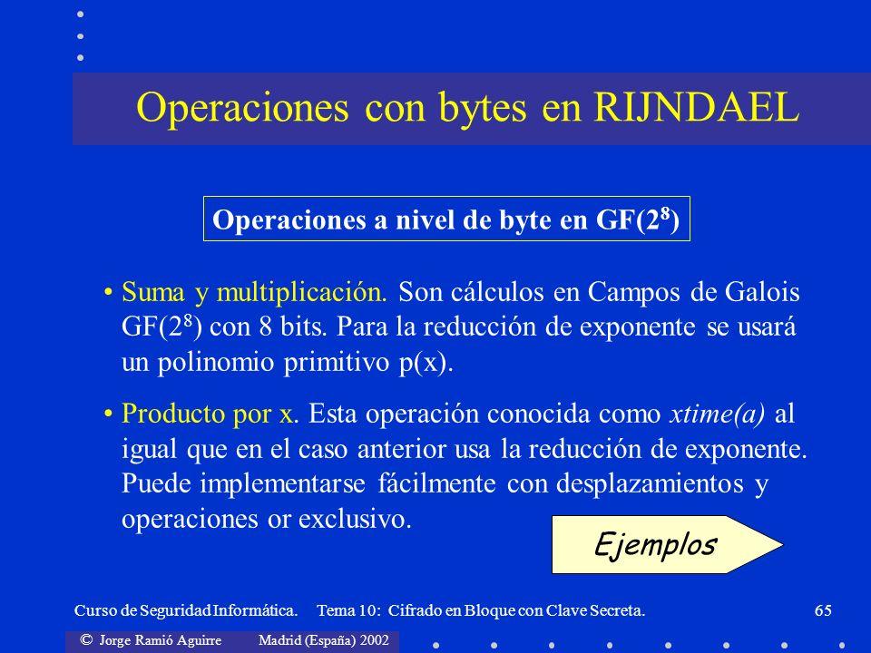 Operaciones con bytes en RIJNDAEL