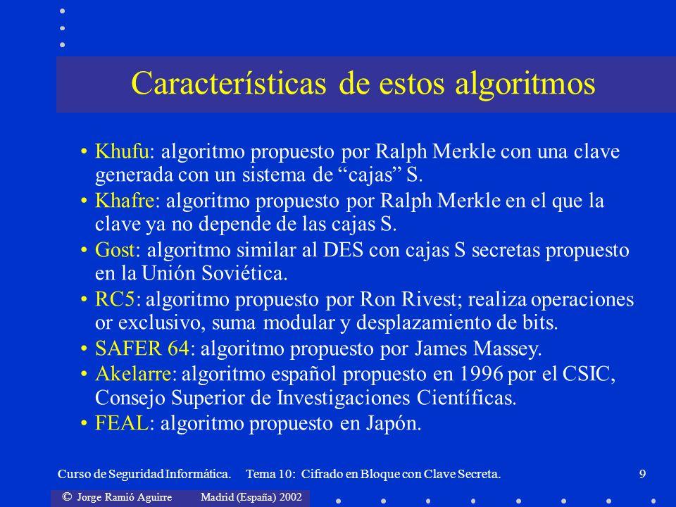 Características de estos algoritmos