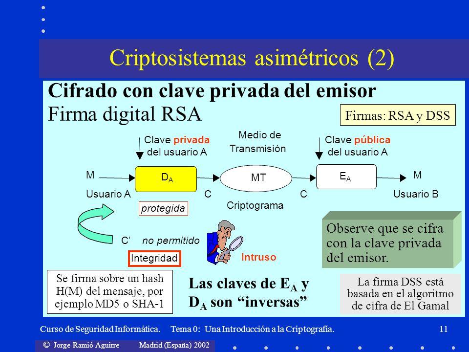 Criptosistemas asimétricos (2)