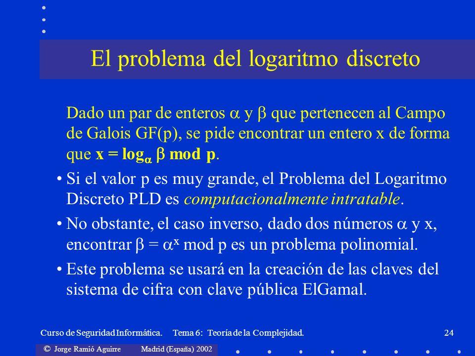 El problema del logaritmo discreto