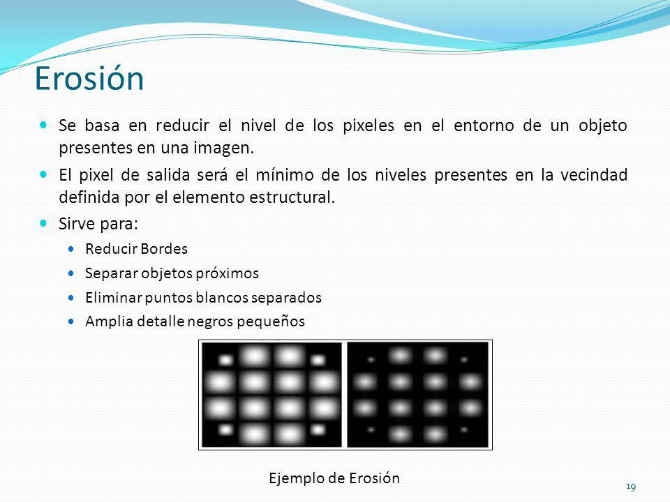 Erosión Se basa en reducir el nivel de los pixeles en el entorno de un objeto presentes en una imagen.