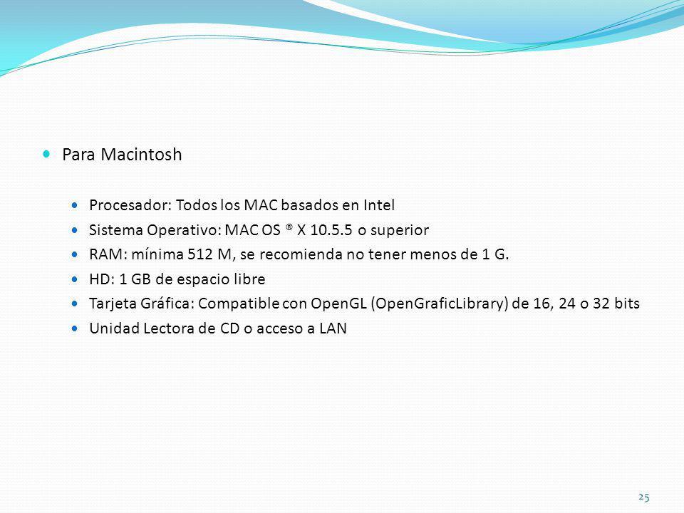 Para Macintosh Procesador: Todos los MAC basados en Intel