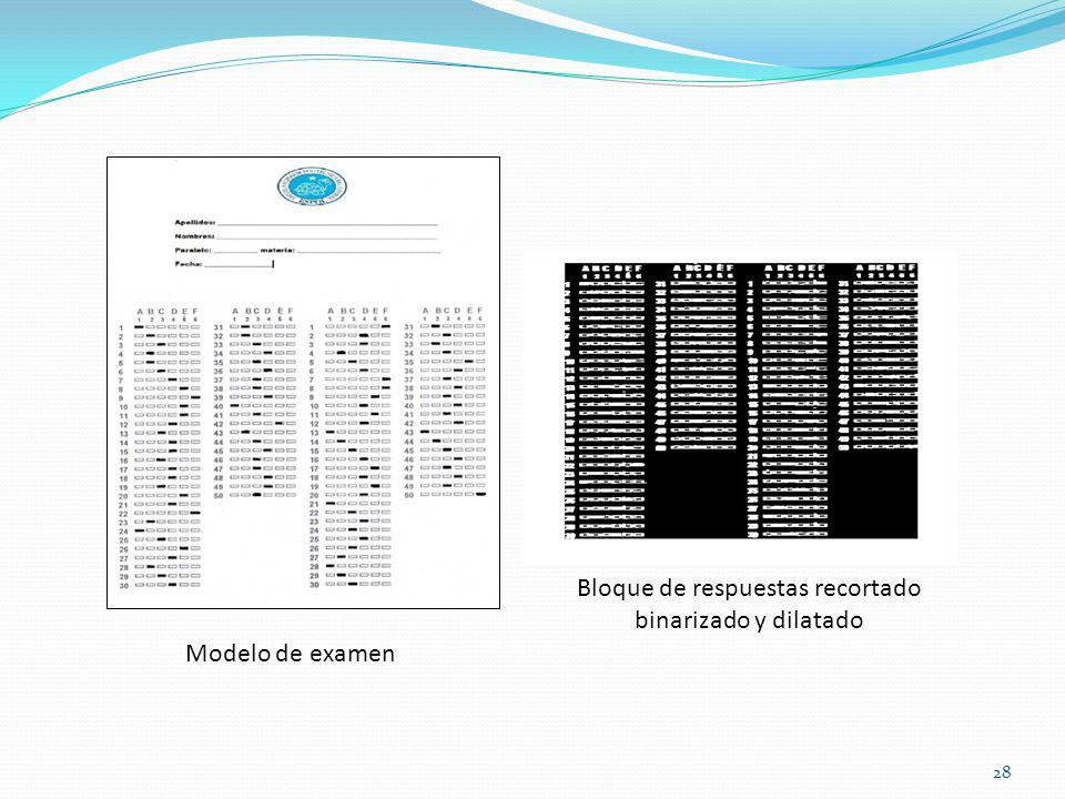 Bloque de respuestas recortado binarizado y dilatado