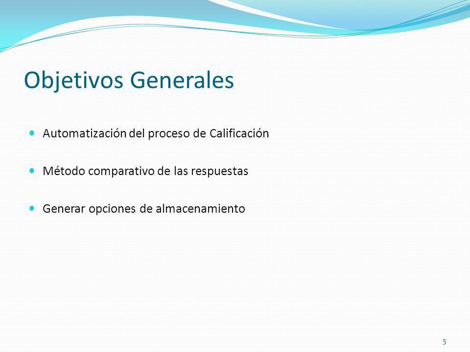 Objetivos Generales Automatización del proceso de Calificación