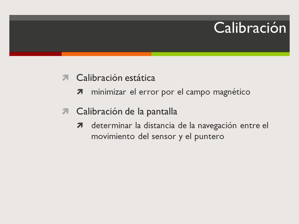 Calibración Calibración estática Calibración de la pantalla