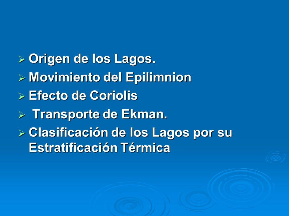 Origen de los Lagos. Movimiento del Epilimnion. Efecto de Coriolis. Transporte de Ekman.