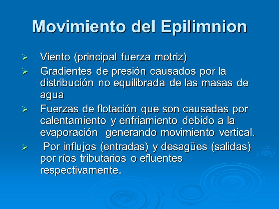 Movimiento del Epilimnion