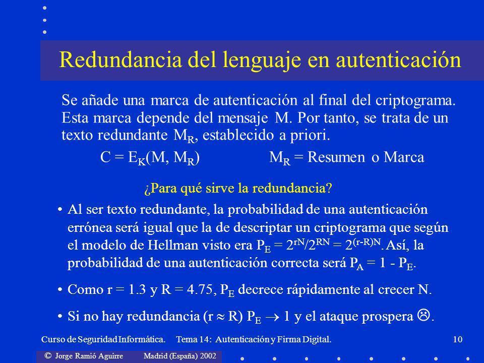 Redundancia del lenguaje en autenticación