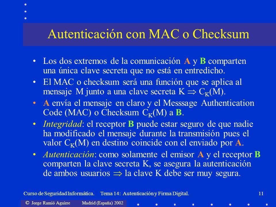 Autenticación con MAC o Checksum