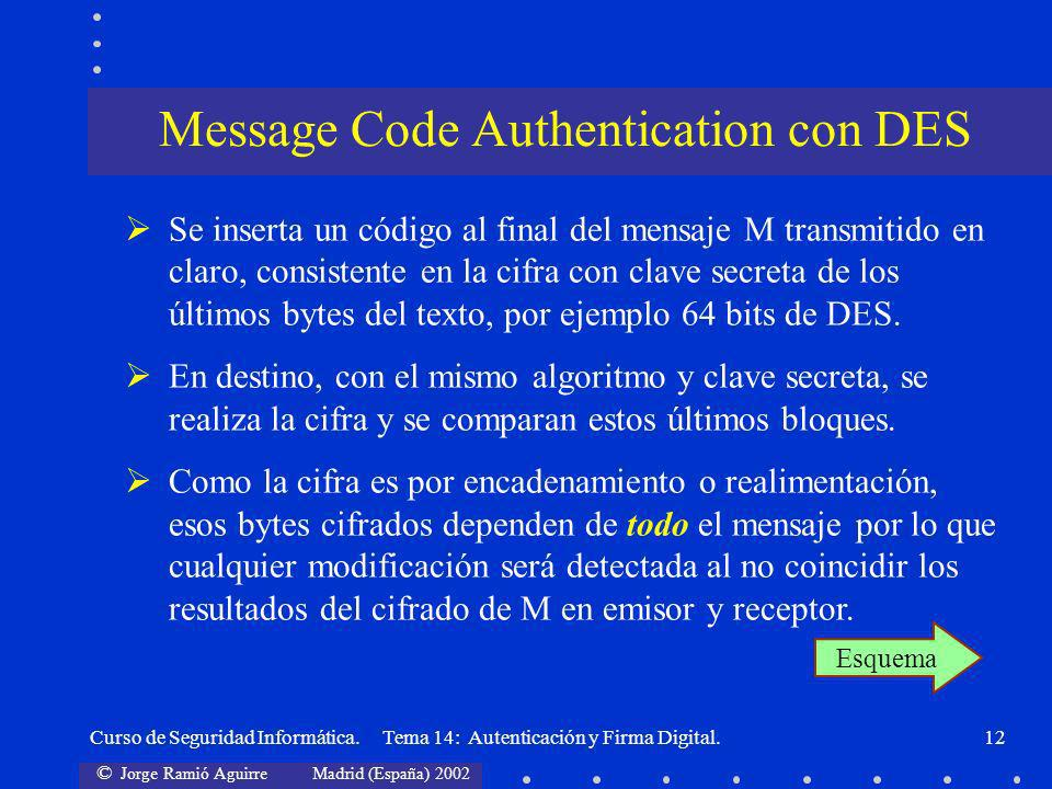 Message Code Authentication con DES