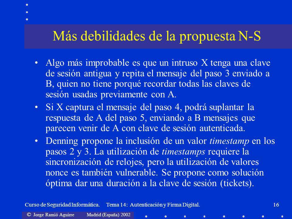 Más debilidades de la propuesta N-S