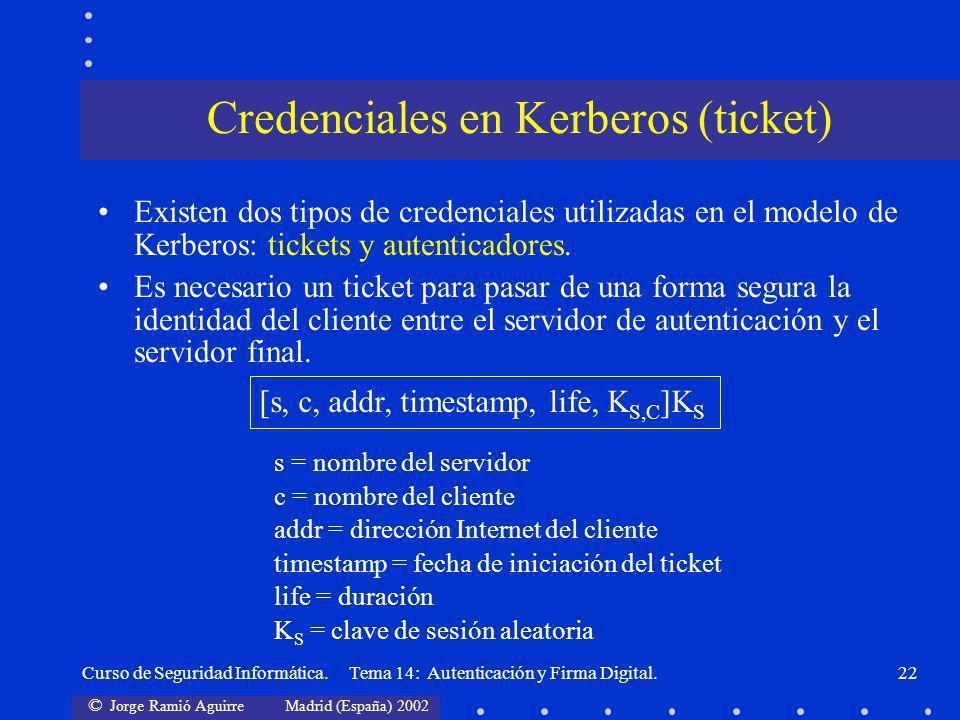 Credenciales en Kerberos (ticket)