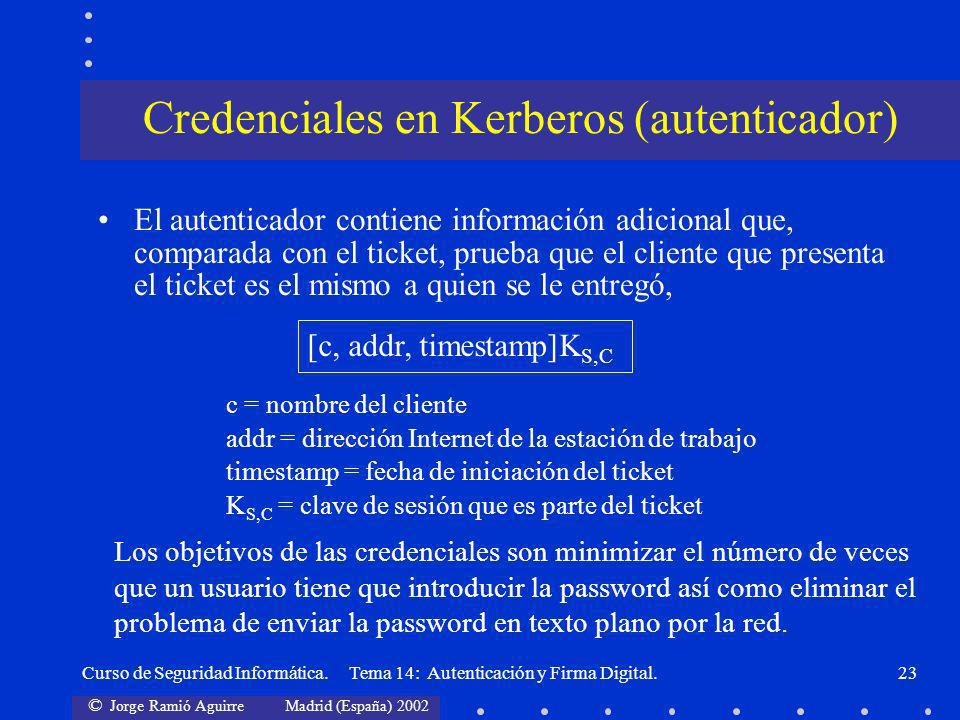 Credenciales en Kerberos (autenticador)