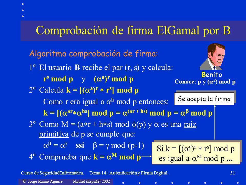 Comprobación de firma ElGamal por B