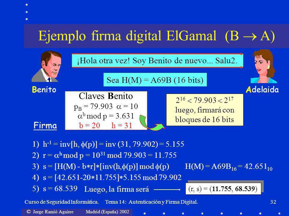 Ejemplo firma digital ElGamal (B  A)