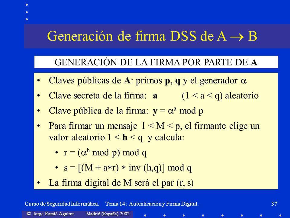 Generación de firma DSS de A  B