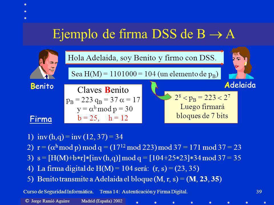 Ejemplo de firma DSS de B  A