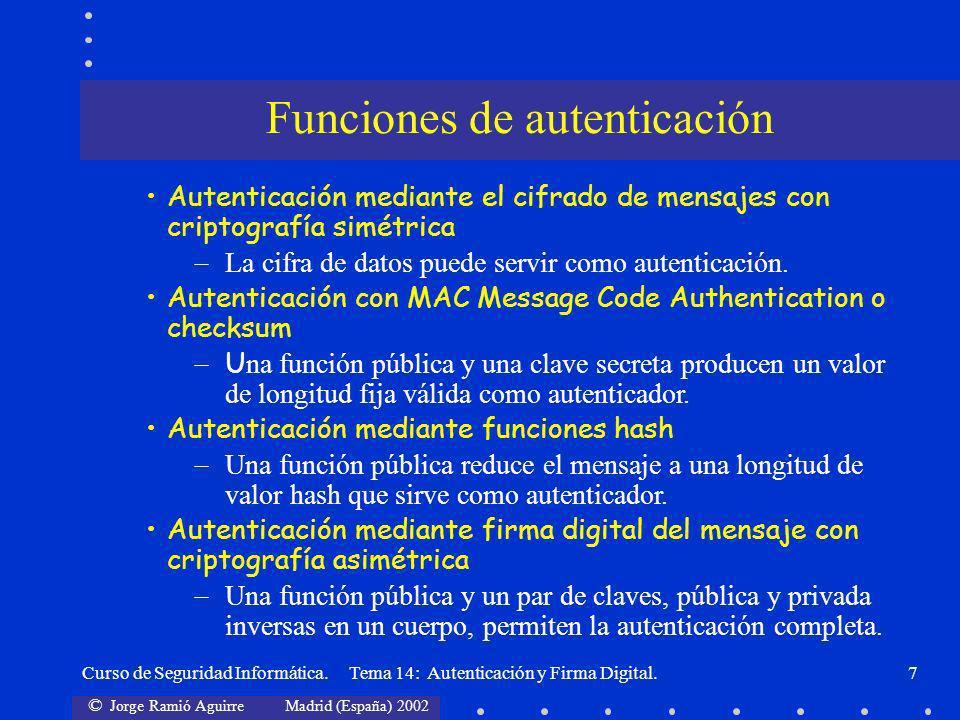 Funciones de autenticación