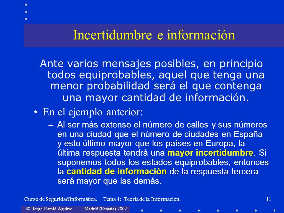 Incertidumbre e información