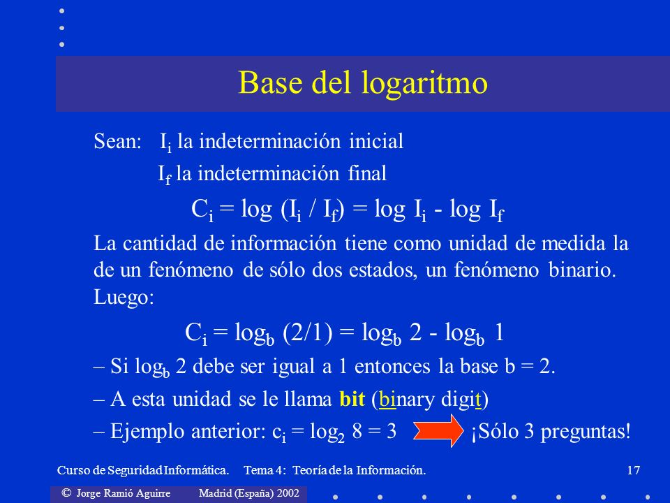 Base del logaritmo Ci = log (Ii / If) = log Ii - log If