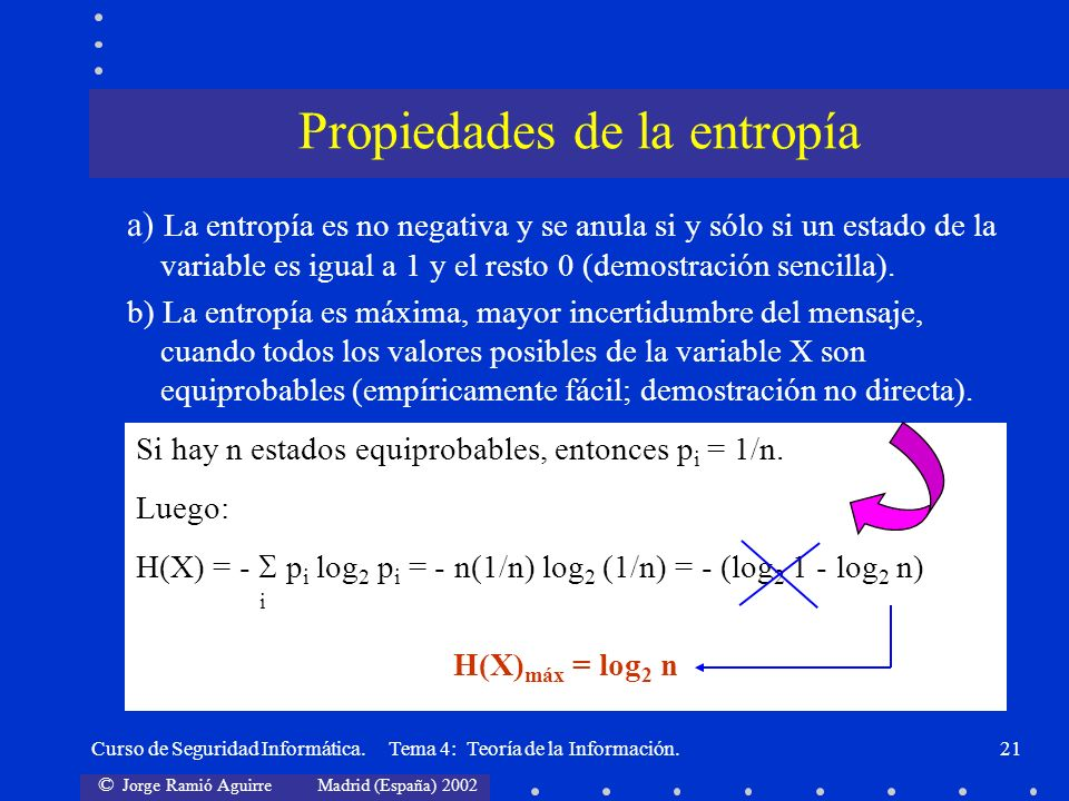 Propiedades de la entropía