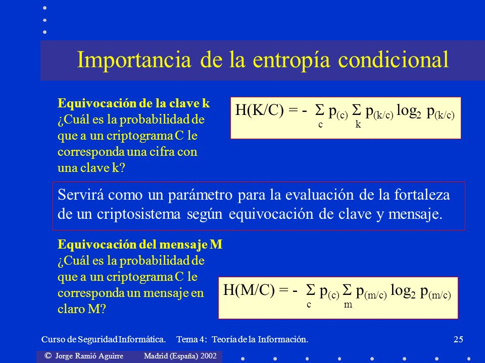 Importancia de la entropía condicional