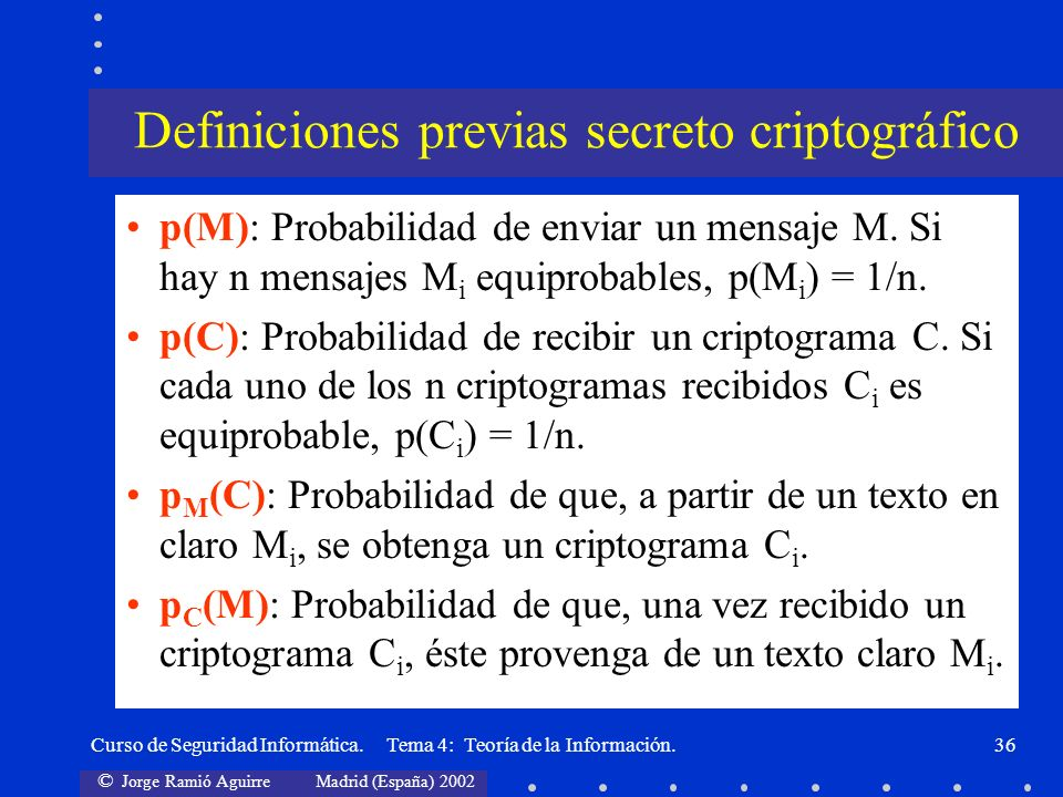 Definiciones previas secreto criptográfico
