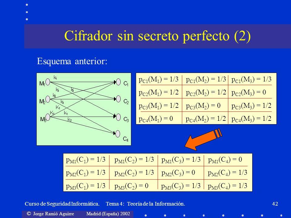 Cifrador sin secreto perfecto (2)