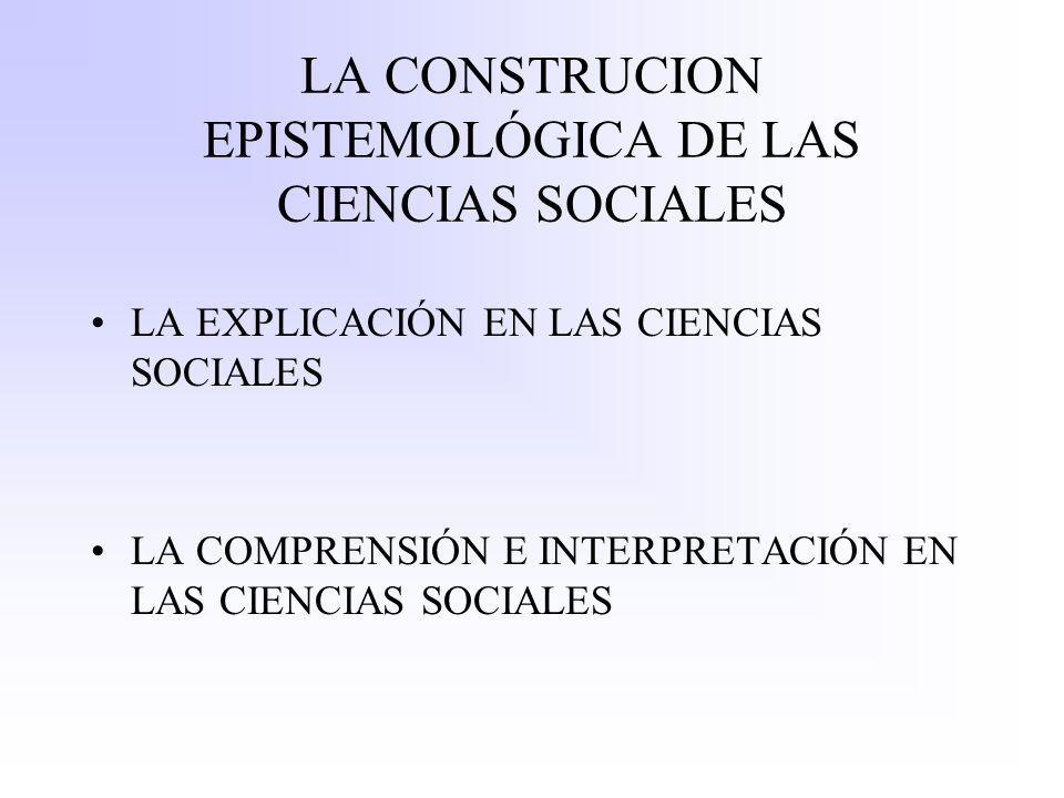 LA CONSTRUCION EPISTEMOLÓGICA DE LAS CIENCIAS SOCIALES