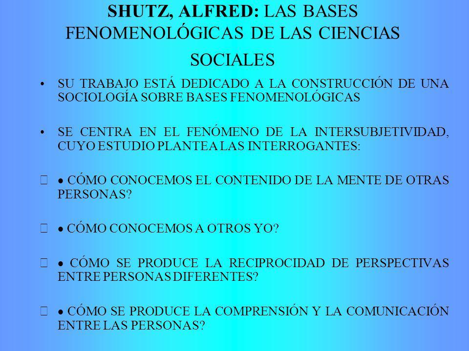 SHUTZ, ALFRED: LAS BASES FENOMENOLÓGICAS DE LAS CIENCIAS SOCIALES