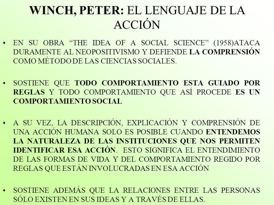 WINCH, PETER: EL LENGUAJE DE LA ACCIÓN