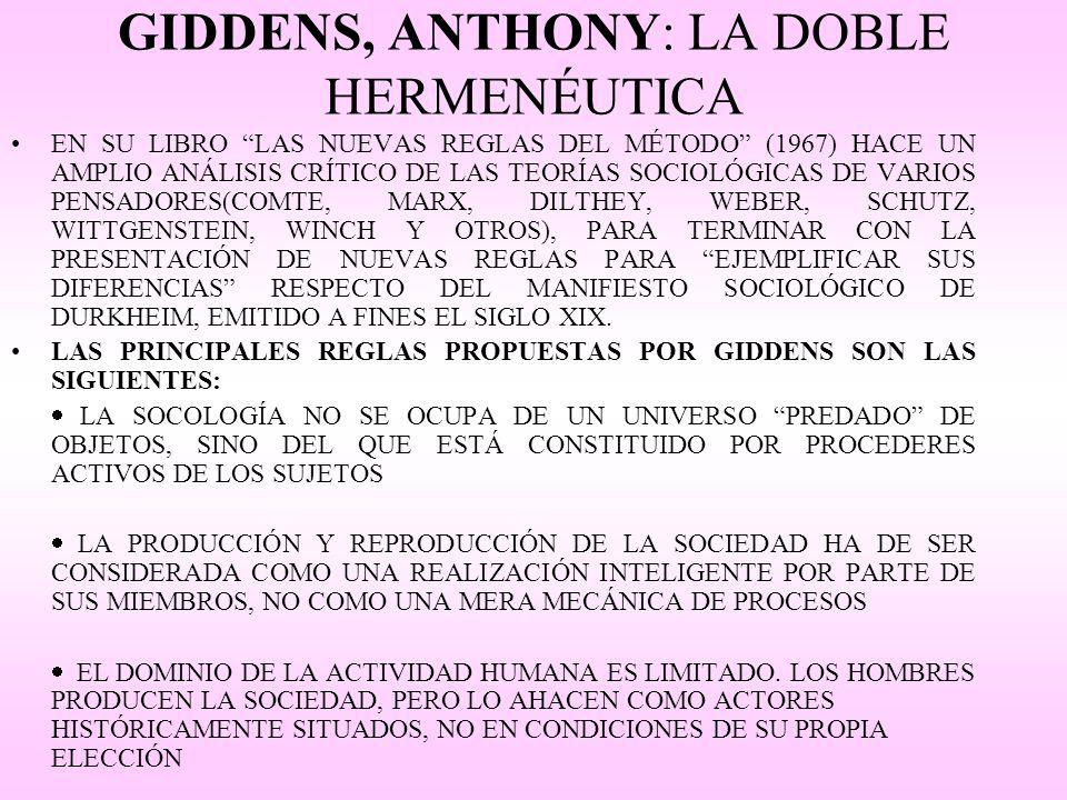GIDDENS, ANTHONY: LA DOBLE HERMENÉUTICA