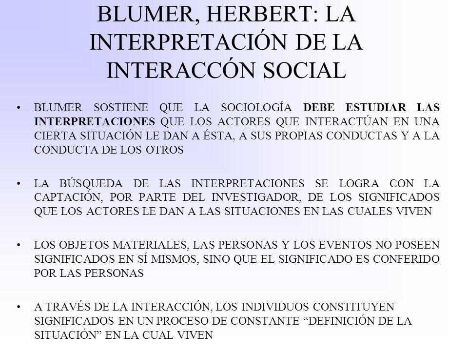 BLUMER, HERBERT: LA INTERPRETACIÓN DE LA INTERACCÓN SOCIAL