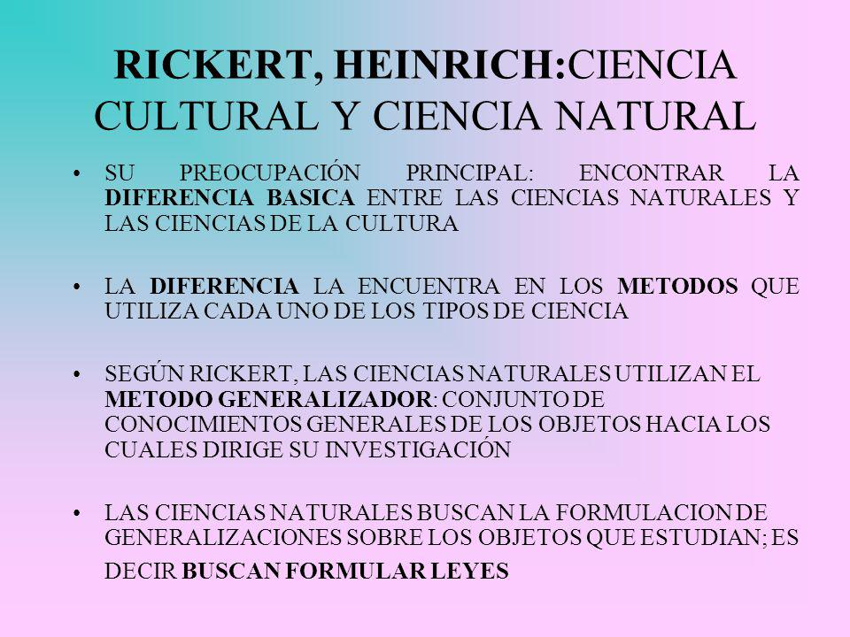 RICKERT, HEINRICH:CIENCIA CULTURAL Y CIENCIA NATURAL