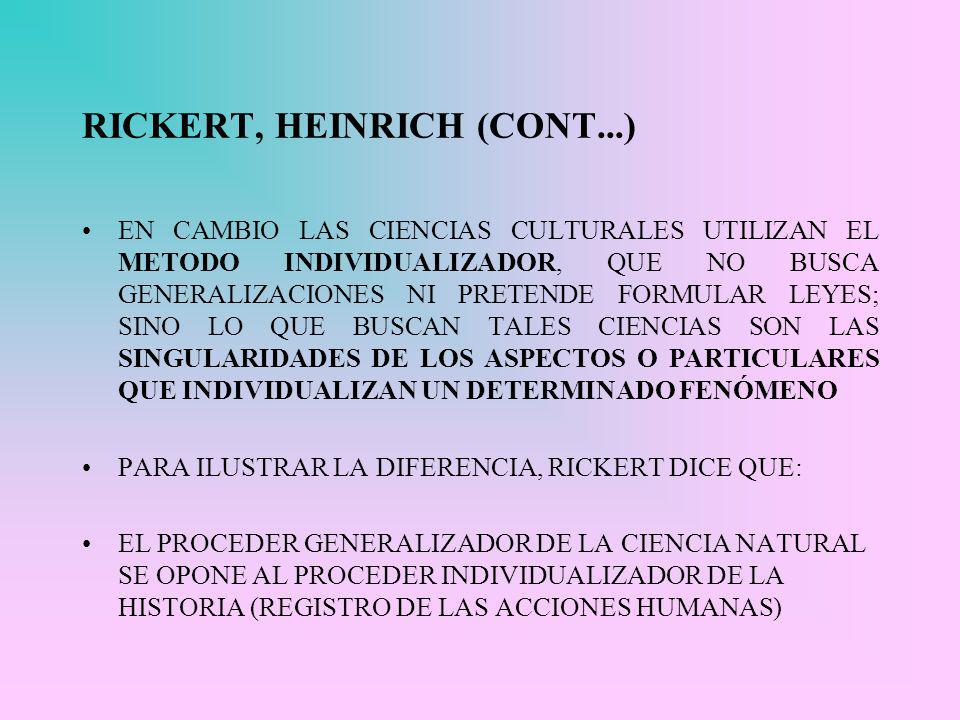 RICKERT, HEINRICH (CONT...)