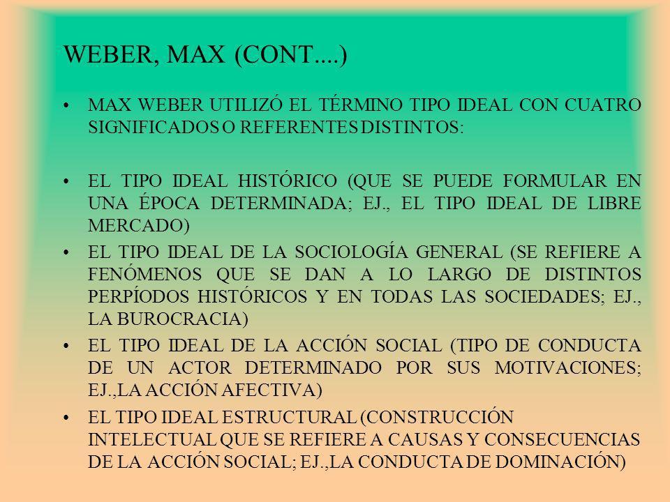 WEBER, MAX (CONT....) MAX WEBER UTILIZÓ EL TÉRMINO TIPO IDEAL CON CUATRO SIGNIFICADOS O REFERENTES DISTINTOS: