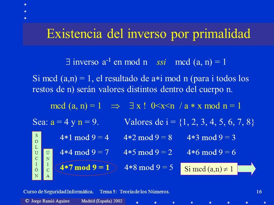 Existencia del inverso por primalidad