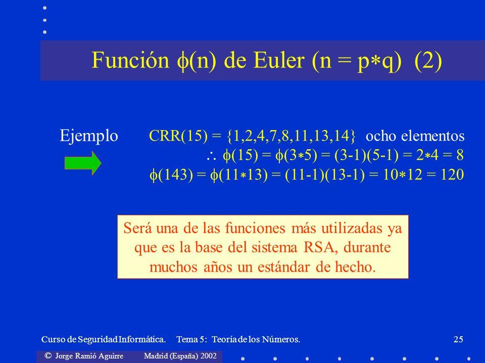 Función (n) de Euler (n = pq) (2)