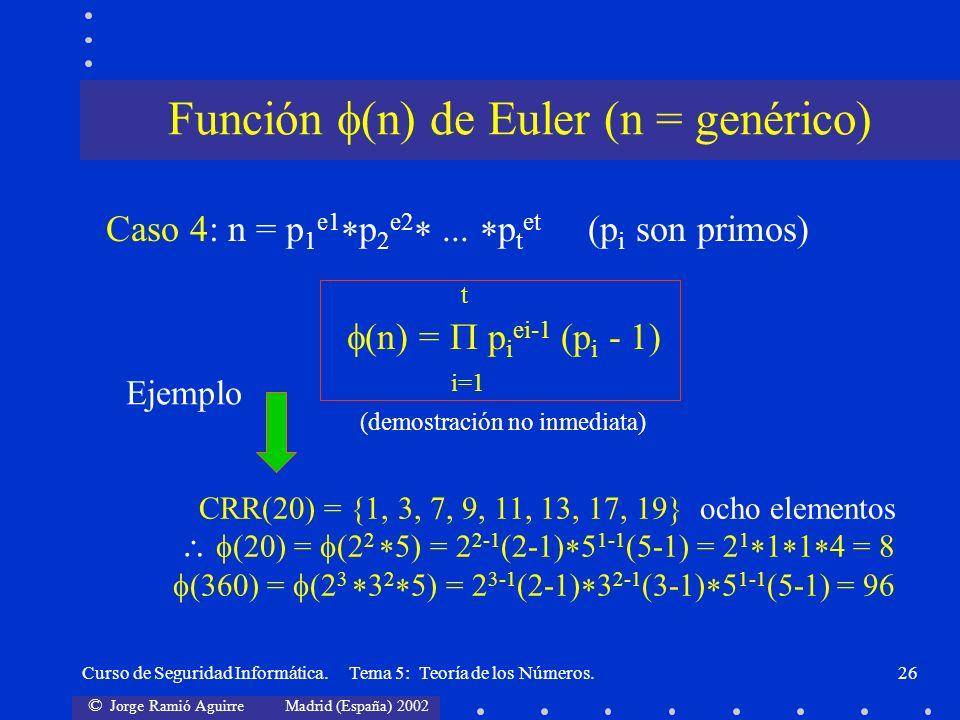 Función (n) de Euler (n = genérico)
