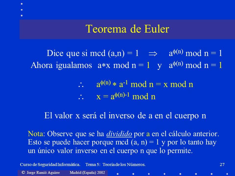 El valor x será el inverso de a en el cuerpo n