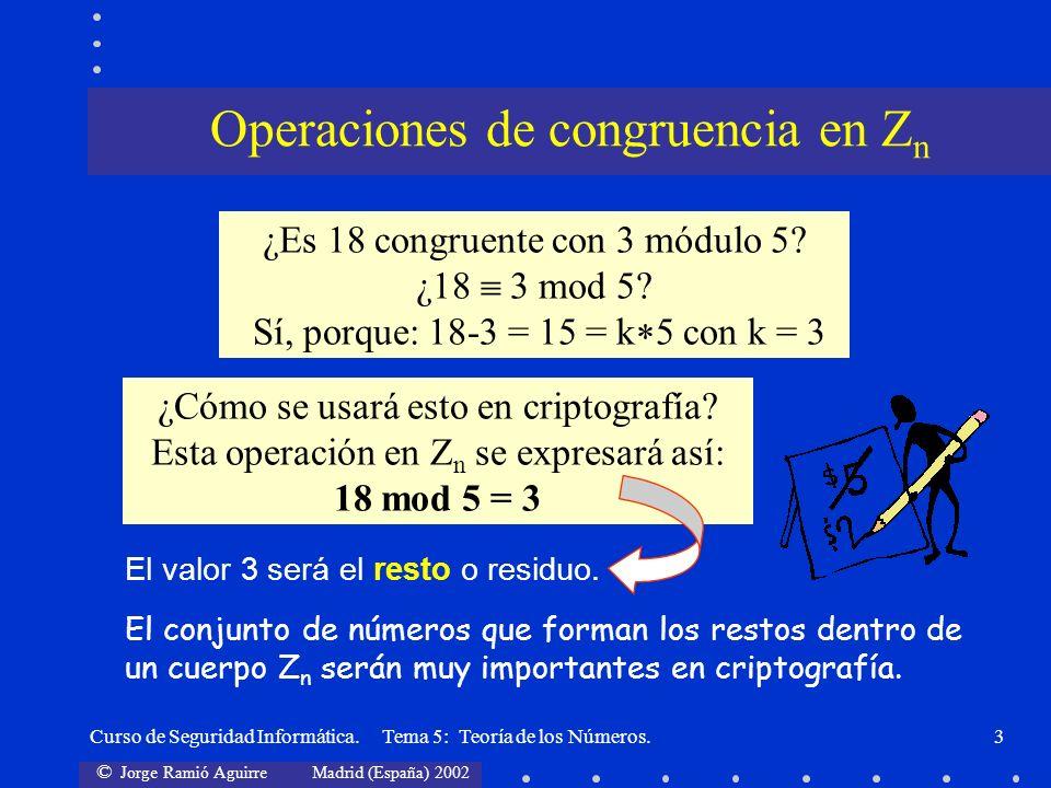 Operaciones de congruencia en Zn