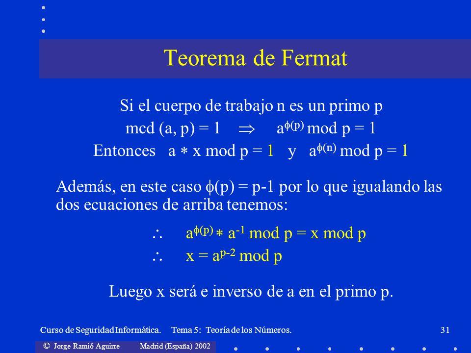 Teorema de Fermat Si el cuerpo de trabajo n es un primo p
