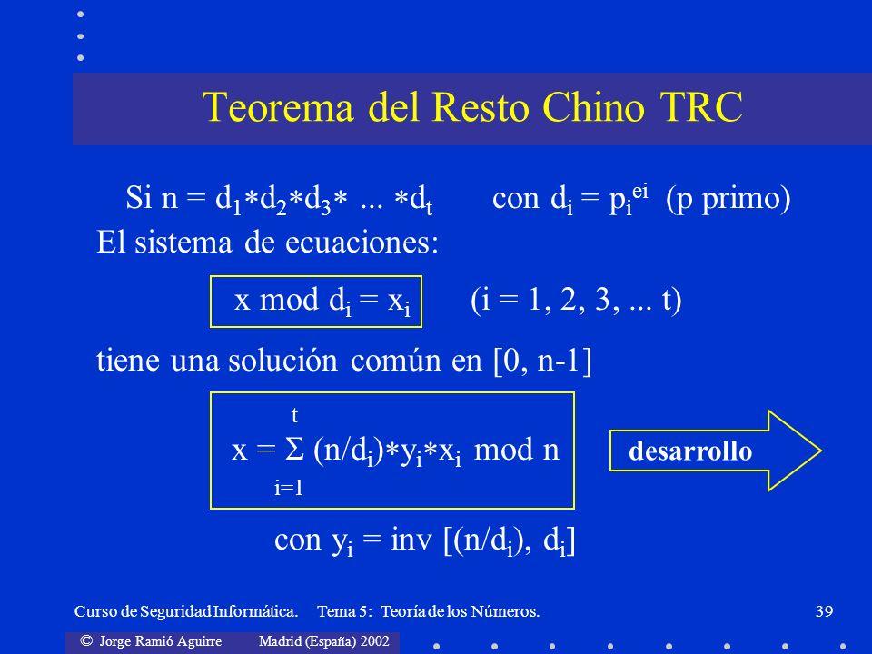 Teorema del Resto Chino TRC