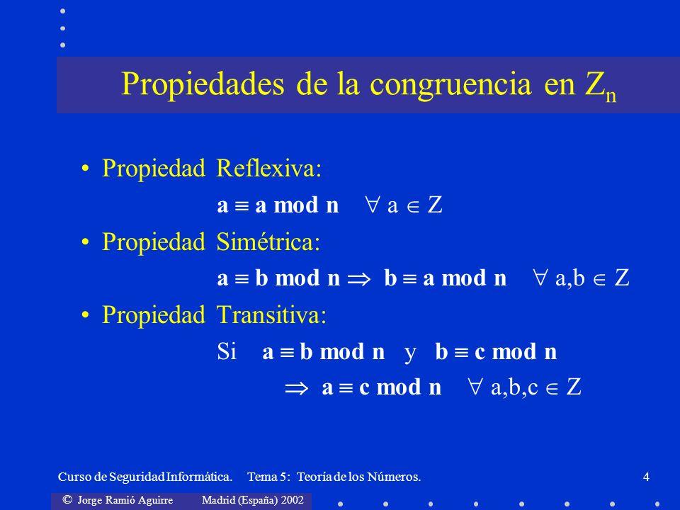 Propiedades de la congruencia en Zn