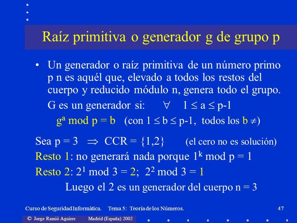 Raíz primitiva o generador g de grupo p