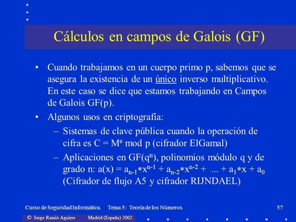 Cálculos en campos de Galois (GF)