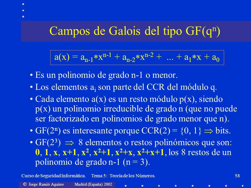 Campos de Galois del tipo GF(qn)