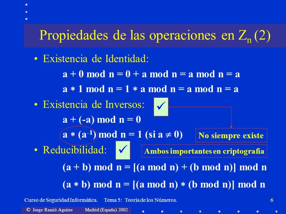 Propiedades de las operaciones en Zn (2)